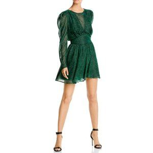 NWT Lini Gemma Velvet Polka Dot Dress Emerald S